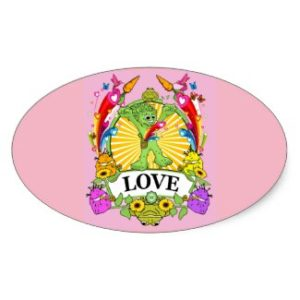 MP LOVE HEARTS PINK OVAL STICKER 4-5X2-7